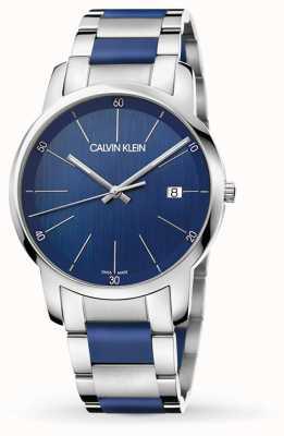 Calvin Klein | mens stadsuitbreiding | tweekleurig roestvrij staal | blauwe wijzerplaat K2G2G1VN