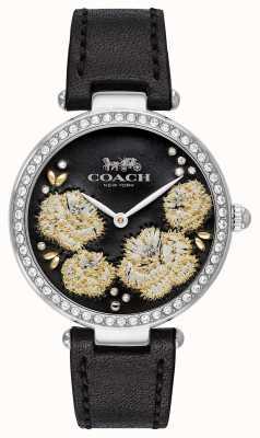 Coach | dames park horloge | zwarte lederen band zwarte wijzerplaat 14503283