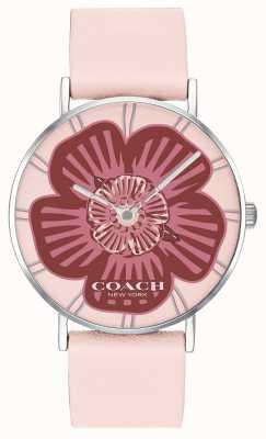 Coach | dames perry horloge | roze lederen band | bloemen wijzerplaat | 14503231