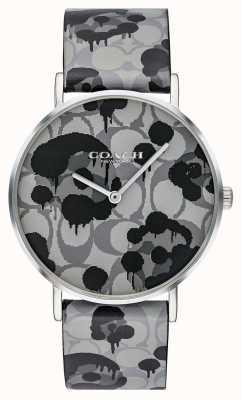 Coach | vrouwen perry horloge | grijs leren riem bloemmotief | 14503248