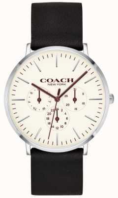 Coach | heren varick horloge | zwarte lederen band witte wijzerplaat | 14602387