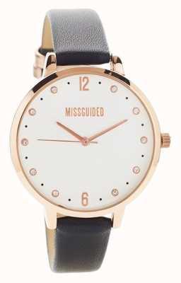Missguided | dameshorloge | zwart lederen rosé gouden kast | MG010BRG