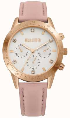 Missguided | dameshorloge | roze leren riem | MG004PRG