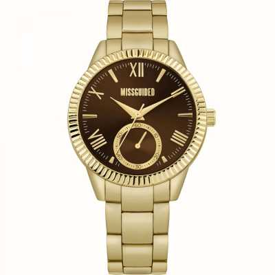 Missguided | gouden armband in edelstaal | bruine wijzerplaat | MG006GM