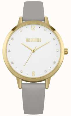 Missguided | dameshorloge | grijze lederen band gouden kast | MG010EG