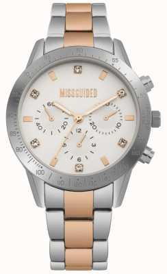 Missguided Dames roestvrij staal tweekleurig zilver en rosé goud horloge | MG004SRM