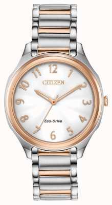 Citizen Eco-drive tweekleurige metalen armband voor dames EM0756-53A
