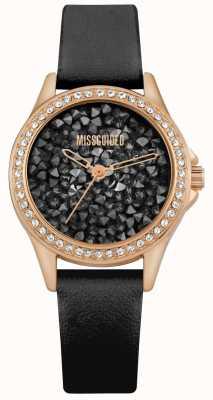 Missguided | zwarte leren damesriem | zwarte wijzerplaat met kristal MG013BRG