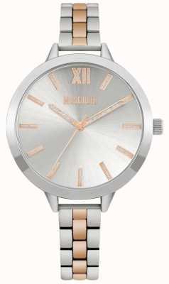 Missguided | dames two tone roestvrij stalen armband | zilveren wijzerplaat | MG005SRM