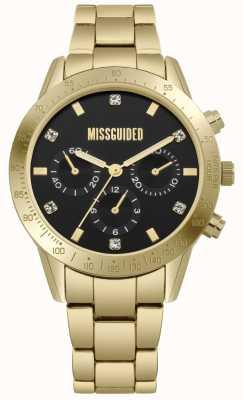 Missguided | het gouden roestvrij staal van vrouwen | zwarte wijzerplaat | chronograaf | MG004GM