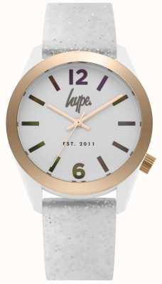 Hype | witte glitter siliconen band voor dames | zilveren wijzerplaat | HYL004S