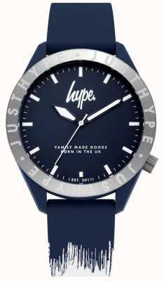 Hype | heren blauw / witte siliconen armband | blauwe wijzerplaat | HYG006UW