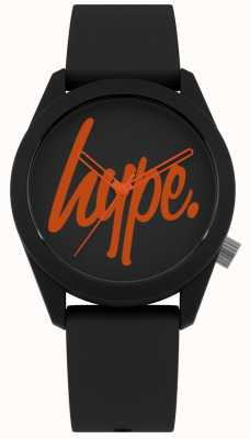 Hype | zwarte siliconen riem | zwarte en oranje wijzerplaat | HYU001BO
