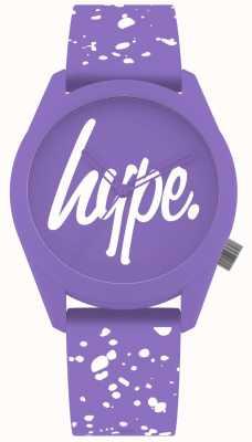 Hype | de paarse en witte siliconen armband van vrouwen | paarse wijzerplaat | HYL001VW