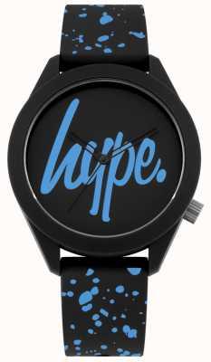Hype | zwarte en blauwe siliconen riem voor heren | zwart / blauwe wijzerplaat | HYG003BU