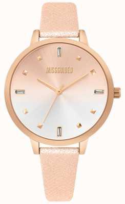 Missguided | dames roségouden lederen horloge | tweekleurige wijzerplaat | MG020RG