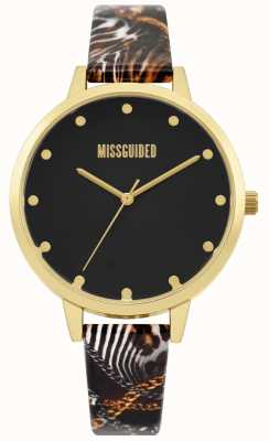 Missguided | dames multi print riem | zwarte wijzerplaat | gouden kast | MG022BG