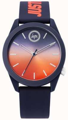 Hype | heren blauw siliconen horloge | tweekleurige wijzerplaat | HYU020UO