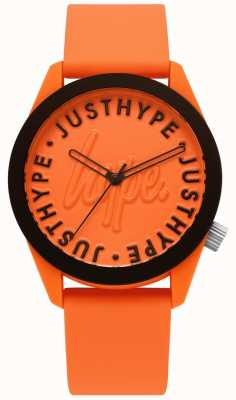 Hype | herenhorloge | oranje siliconen armband | oranje wijzerplaat | HYU023O