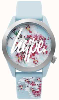 Hype | dameshorloge | blauwe siliconen riem | florale wijzerplaat | HYL022US