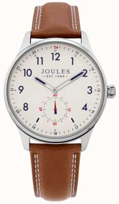 Joules | heren eg horloge | leren riem van bruin | JSG008T