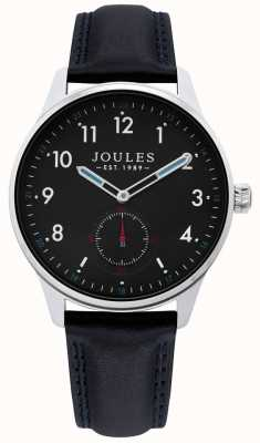 Joules | heren eg horloge | zwarte leren riem | JSG008B