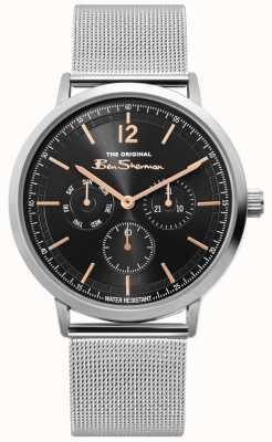 Ben Sherman | heren zilver mesh horloge | zwarte wijzerplaat | BS011ESM