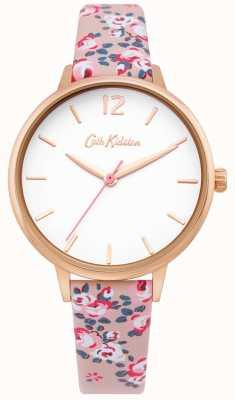 Cath Kidston | womens hampton horloge | bloemen leren riem | witte wijzerplaat | CKL067PRG