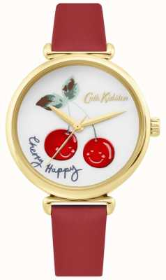 Cath Kidston | womens cherry happy watch | rode leren riem | witte wijzerplaat CKL081RG