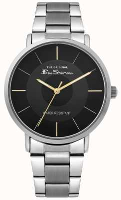 Ben Sherman   mens script horloge   roestvrijstalen armband   zwarte wijzerplaat BS014BSM