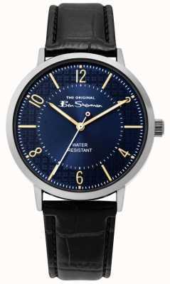 Ben Sherman | mens script horloge | zwarte leren riem | blauwe wijzerplaat | BS018B