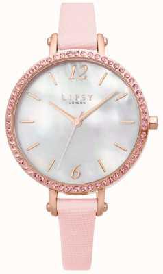 Lipsy | roze lederen band voor dames | witte wijzerplaat | LP650