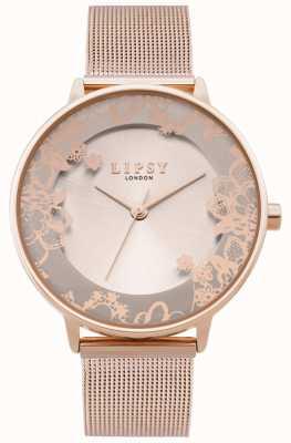Lipsy | womens rose goud mesh armband | rose gouden wijzerplaat | LP646