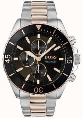 Boss   mens ocean edition   tweekleurig roestvrij staal   zwarte wijzerplaat 1513705