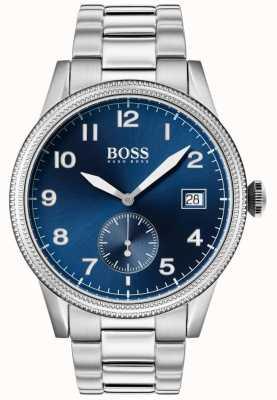Hugo Boss   heren legacy horloge   roestvrij staal   blauwe wijzerplaat   1513707