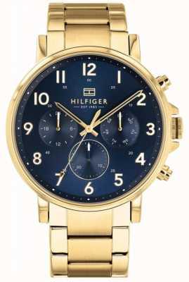 Tommy Hilfiger Daniel | gouden ip armband | blauwe wijzerplaat 1710384