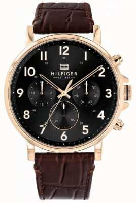 Tommy Hilfiger | heren bruin lederen daniel horloge | 1710379