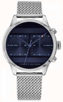 Tommy Hilfiger | heren roestvrijstalen gaas horloge | blauwe wijzerplaat | 1791596