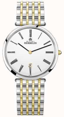 Michel Herbelin Heren epsilon tweekleurige armband witte wijzerplaat 19416/BT11