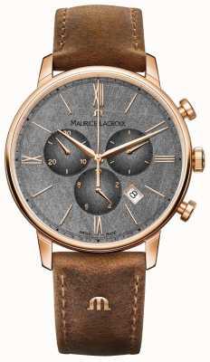 Maurice Lacroix Eliros chronograaf wijzerplaat bruin lederen band EL1098-PVP01-210-1
