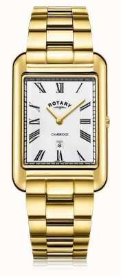 Rotary | heren vergulde armband | witte wijzerplaat | GB05283/01