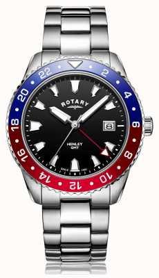 Rotary | heren armband in edelstaal | zwarte wijzerplaat | GB05108/30
