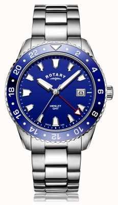 Rotary | heren armband in edelstaal | blauwe wijzerplaat | GB05108/05