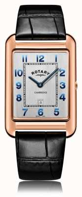 Rotary | heren zwarte lederen band | roségouden kast | GS05284/70