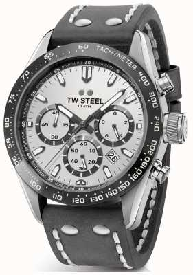 TW Steel | donkergrijze leren herenband | zilveren wijzerplaat | CHS3