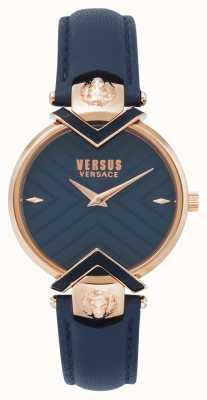 Versus Versace | dames blauwe lederen band met roségoud | VSPLH0419