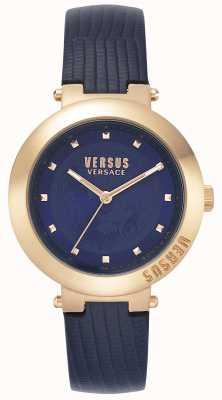 Versus Versace | dames blauwe leren riem | roségouden kast | VSPLJ0419