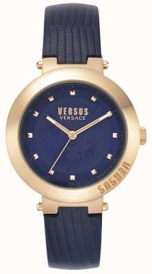 Versus Versace | dames blauwe lederen band | rosé gouden kast | VSPLJ0419