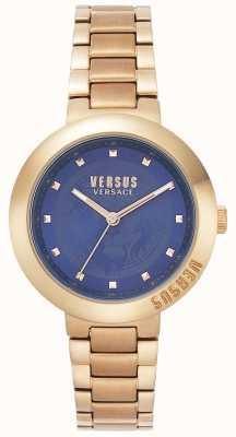 Versus Versace Dames rosegouden armband | blauwe wijzerplaat | VSPLJ0819