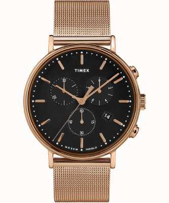 Timex   fairfield chrono zwarte wijzerplaat   geval van rose goudkleur TW2T37100D7PF